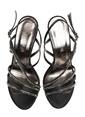 Divarese Taşlı Kalın Yüksek Topuklu Ayakkabı Siyah